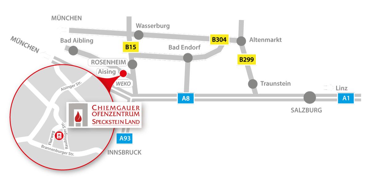 Anfahrt Specksteinland Rosenheim